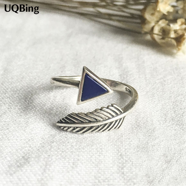 New Arrivals Geometric Retro Feather 925 Silver Rings Triangle Ring For Girl Women Rings Gift Jewelry
