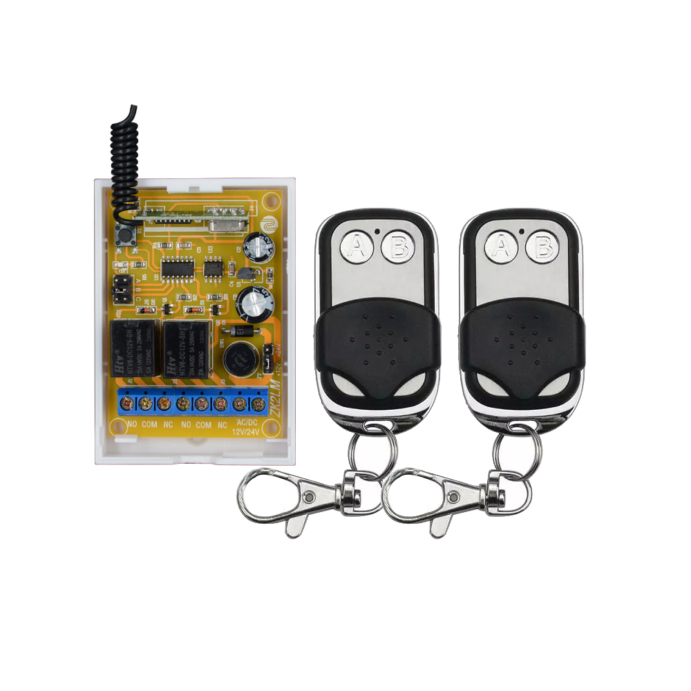 ZK2LM 2 Channel DC12V 24V Wireless Remote Control Switch 10A Relay Receiver With 2PCS Metal Transmitter For Smart Home 2pcs receiver transmitters with 2 dual button remote control wireless remote control switch led light lamp remote on off system