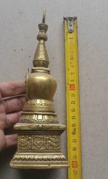 Elaborate Tibetan Buddhism Brass Shakyamuni Pagoda Statue.