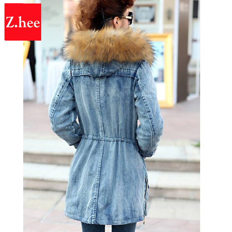 Aliexpress.com : Buy Fur Collar Denim Winter Coat Women Loose ...