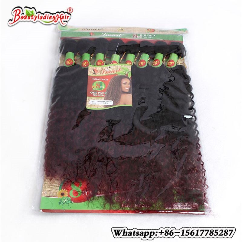 8 stycken av ombre kinky lockigt hår mänsklig väv Billiga Kinky - Syntetiskt hår - Foto 1