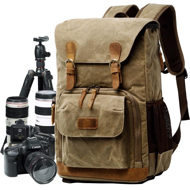 Batik Canvas Waterproof Trendy Vintage Leisure Photography Bag Outdoor Wear resistant Large Backpack Men for Canon