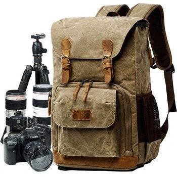 Batik Canvas Waterproof Trendy Vintage Leisure Photography Bag Outdoor Wear-resistant Large Backpack Men for Canon Nikon Sony Camera/Video Bags