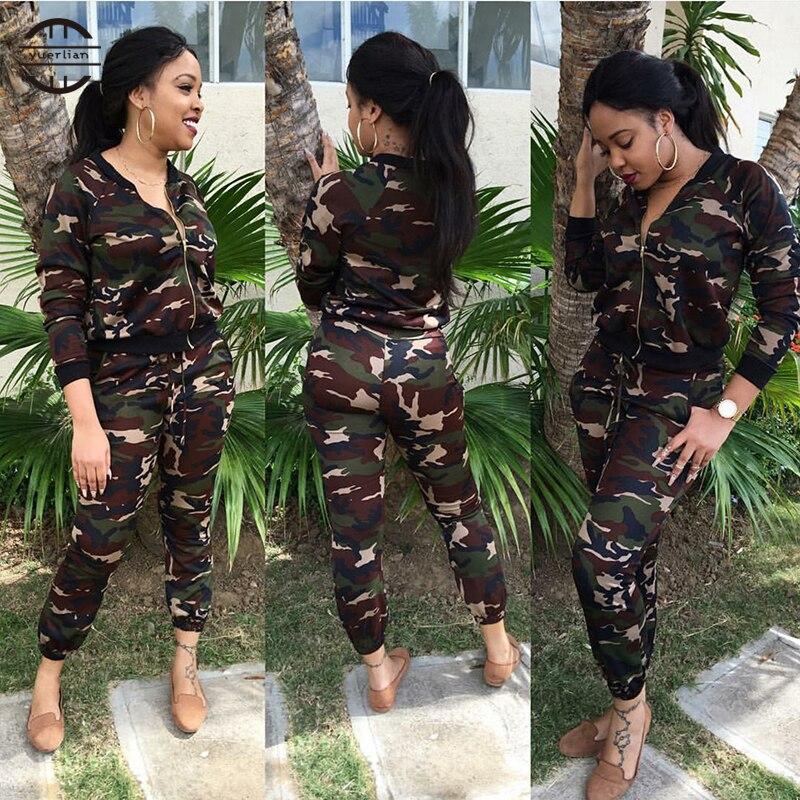 2 pièces femmes Camouflage Yoga costume à manches longues + pantalon course ensemble avec fermeture éclair plein air loisirs Sport vêtements survêtement pour femmes