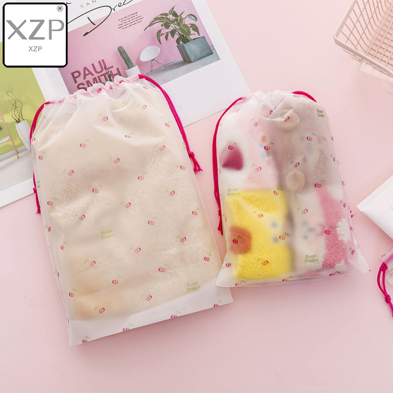 XZP Cherry Transparent Scrub Cosmetic Bag Travel Makeup Case Women Zipper Make Up Bath Organizer Storage Pouch Toiletry Wash Kit