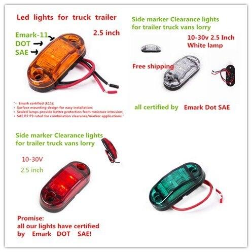 1X ADR E4 LED Side Marker Light Clearance Lamp 12V 24V E marked