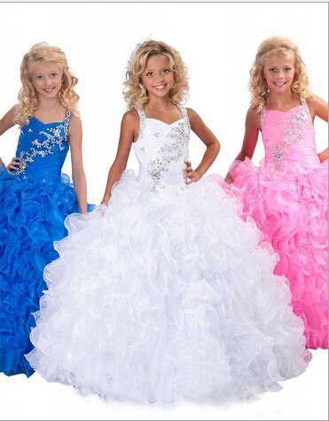 2017 first communion Blue White Pink Flower Girl Dress Cute Ball Gown Halter Summer Girls Pageant Weddings Party - New York Brides store