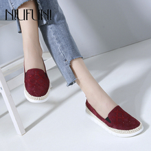 NIUFUNI 2019 Autumn Women Leather Loafers Fashion Ballet Flats Shoes Woman Slip On Rhinestone Boat Shoes Shallow Moccasins цена 2017
