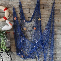 1x2M Mediterranean Sea style White Blue Decor Net Shell Ornaments Wall Hangings Decor Crafts Scene Party Decor