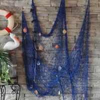 Wand Dekor Aufkleber Mit Shell Dekoration 1 stücke Fischernetz Für Wohnkultur Wandbehänge Die Mittelmeer stil 1*2 mt