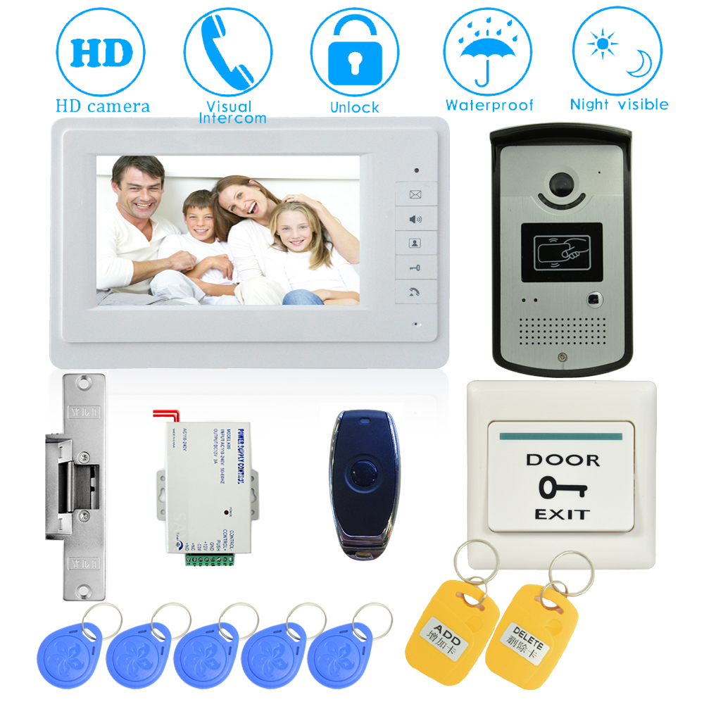 (1 set) 7 Inch Video Doorphone Door Bell Home Intercom system Color Monitor Access Control Exit button Remote Unlock RFID key 1 set video intercom home garden improvement door phone 7 monitor with rfid card unlock release function door bell system