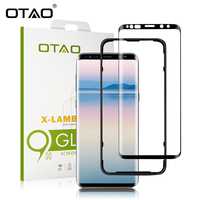 OTAO For Samsung Galaxy S9 Plus Case Friendly 3D Curved Full Cover Tempered Glass Screen Protector