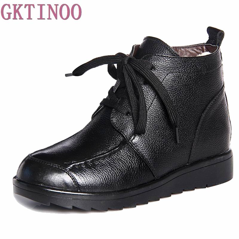 Fashion Winter Women Boots Female Lace Up Ankle Boots Wool Warm Snow Boots Ladies Shoes Woman Botas Mujer Size 35-40 ubz women snow boots australia sheepskin wool snow boots female winter flat shoes bottomed buckle warm boots botas mujer