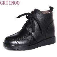 Fashion Winter Women Boots Female Lace Up Ankle Boots Wool Warm Snow Boots Ladies Shoes Woman