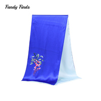 Fandy Finds Real Silk Scarf High Quality Hand Embroidery Solid Color Spring Autumn Business Gift Ladies Soft Scarves