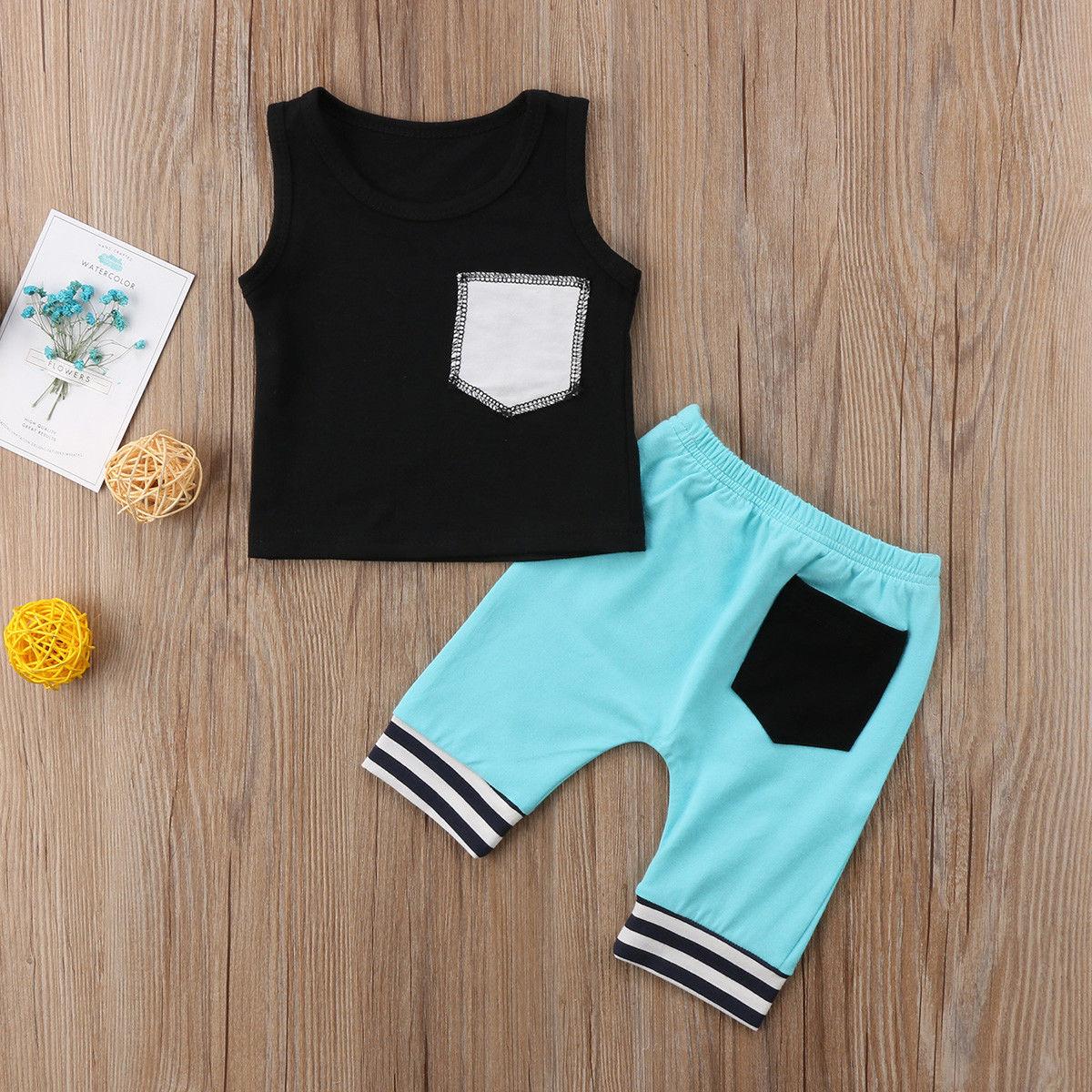Twin Newborn Baby Boy Girl Sister Brother Matching Shirt Short Pants Outfit Set