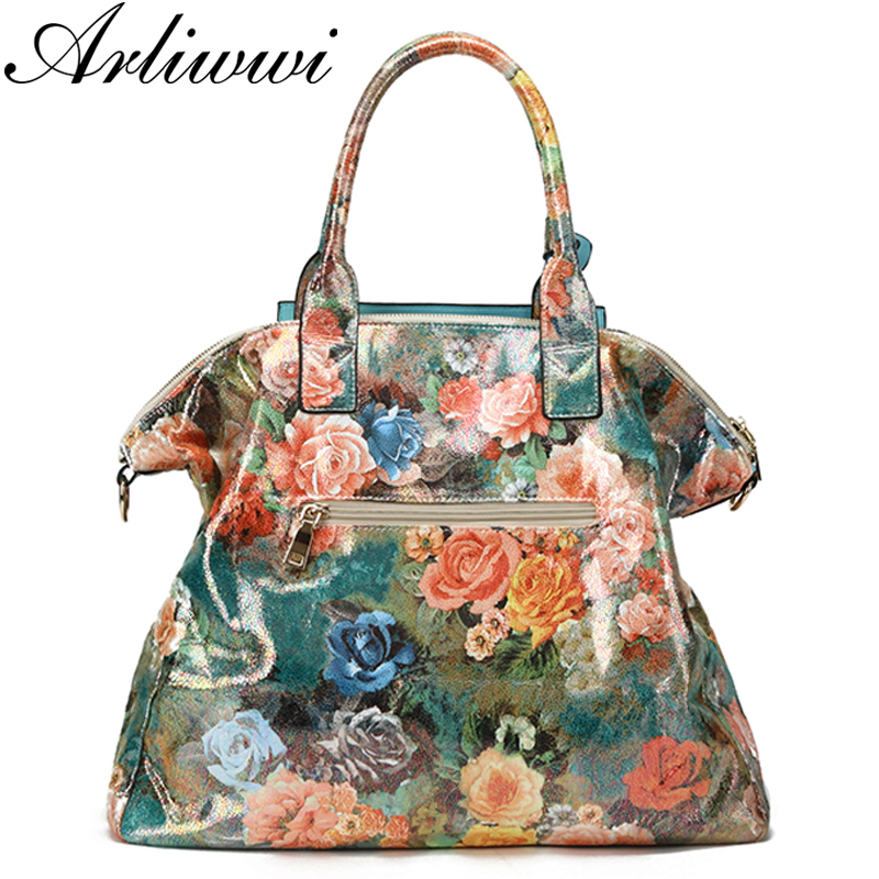 Floral Glossy Handbag with matching wallet