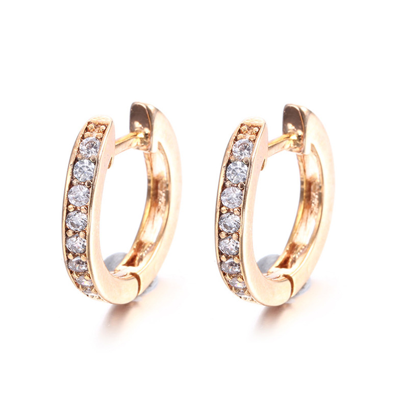 vintage aretes gold 585 plated hoop earrings for women boucle d 39 oreille wedding zircon fashion. Black Bedroom Furniture Sets. Home Design Ideas
