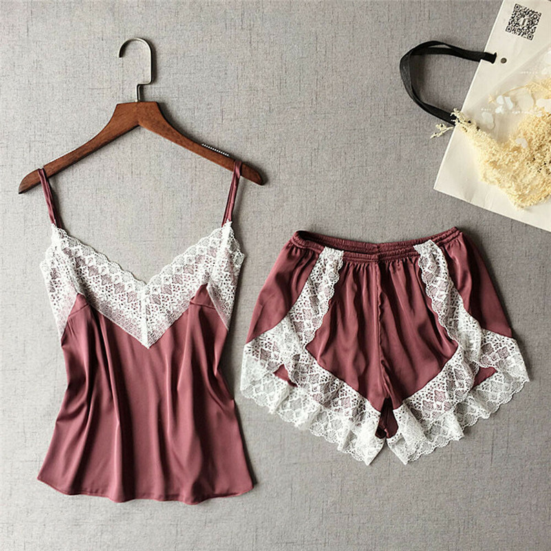 2pcs Women Satin Lace Sleepwear New Sexy Soild Color Nightdress Ladies' V-neck Fashion Pajamas Set Strappy Camisole Shorts Hot