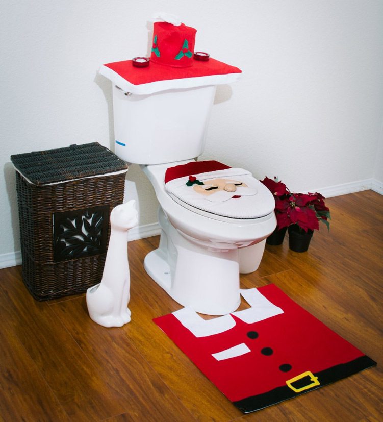 Three Piece Set Christmas Decorations Happy Santa Toilet Seat Cover And Rug Bathroom Innovative Item Free Shipping In Covers From Home