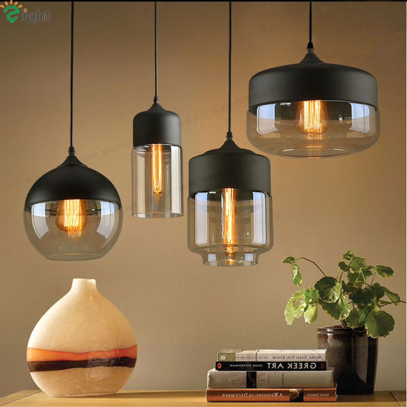 ФОТО Nordic Creative Clear&Amber Glass E27 Led Pendant Lights Simple White&Black Iron Led Pendant Lamp Diningroom Led Hanging Light