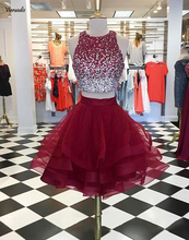 Short Burgundy Prom Dress 2019 Two Pieces OF-Neck Beaded Ruffled Skirts Organza Party Dresses Gowns Formal
