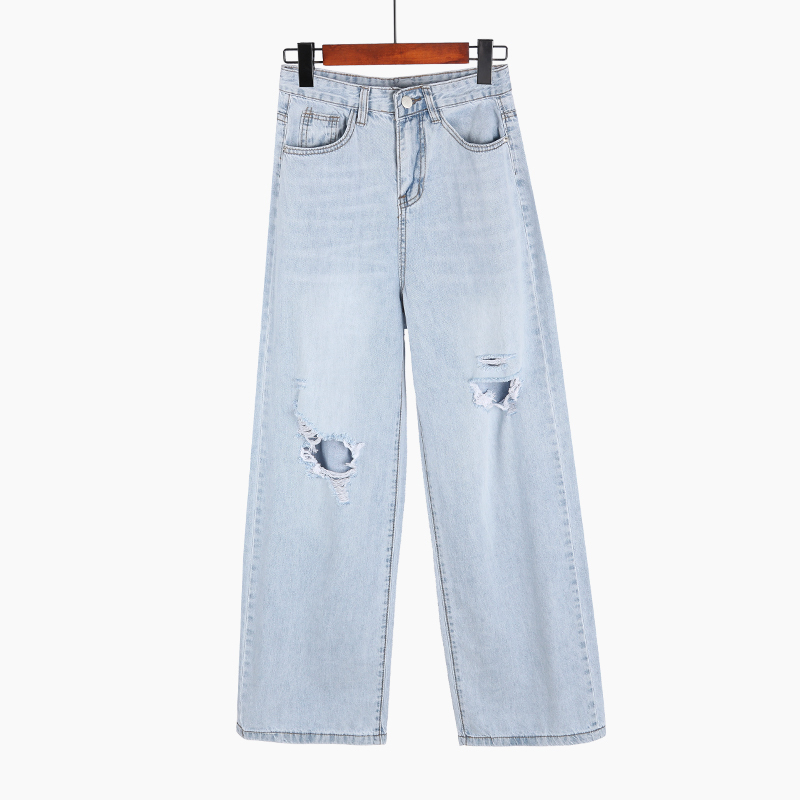 Spring Autumn Women High Waist Denim Wide Leg Jeans Fashion Streetwear Ripped Hole Washed Trousers