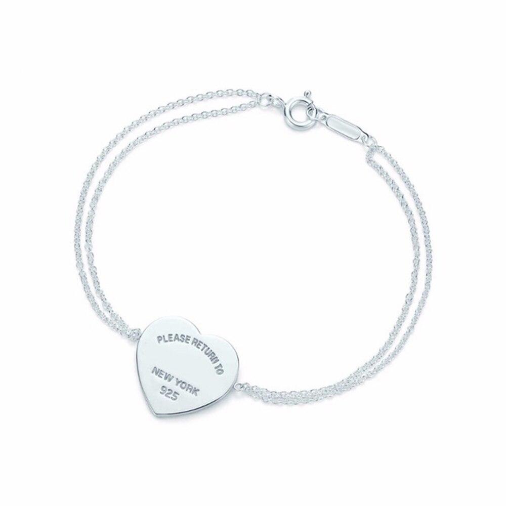 Heart Shape Bracelet & Bangle Brand 925 Sterling Silver Heart T sign Pendant Simple Design For Women Elegant Fine Jewelry wlogo (1)