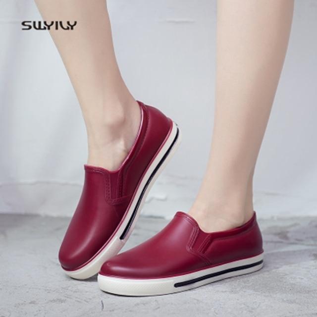 Сапоги SWYIVY женские резиновые с низким вырезом, Новинка лета 2018, женская повседневная обувь на плоской подошве, водонепроницаемые женские сапоги для дождя, сапоги женские 40