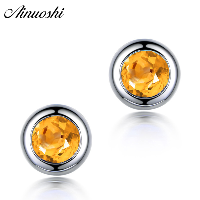 AINUOSHI Natural Citrine Round Stud Earring 1ct Round Cut Gems Engagement Party Women Jewelry 925 Sterling Silver Stud EarringAINUOSHI Natural Citrine Round Stud Earring 1ct Round Cut Gems Engagement Party Women Jewelry 925 Sterling Silver Stud Earring