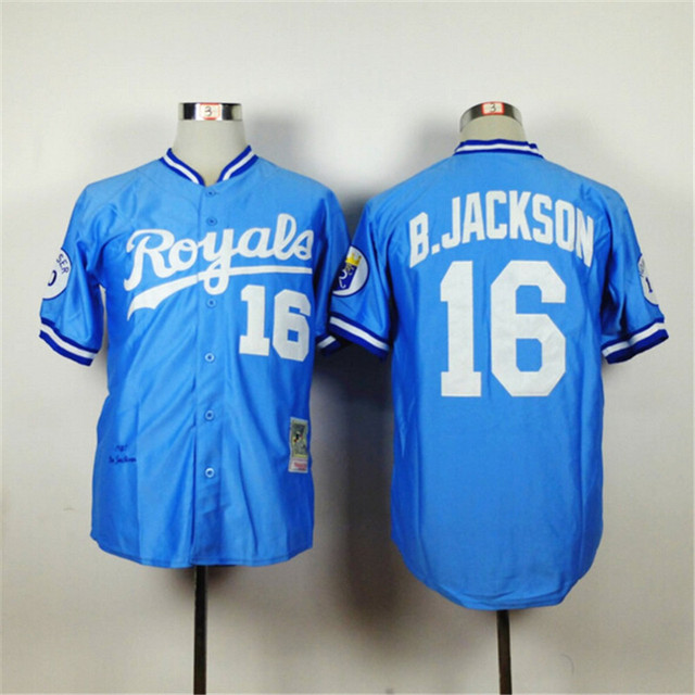 Retro KC Kansas City Royals Jersey 16 Bo Jackson Throwback 1985 1987  Blue 1980 White B.JACKSON Baseball Shirts Wholesale 0e8536a5a