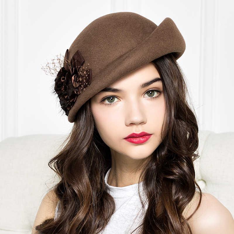 762f314cd30 100% Wool Felt Berets Women Autumn And Winter Party Gauze Flower Formal Hat  Banquet Grace