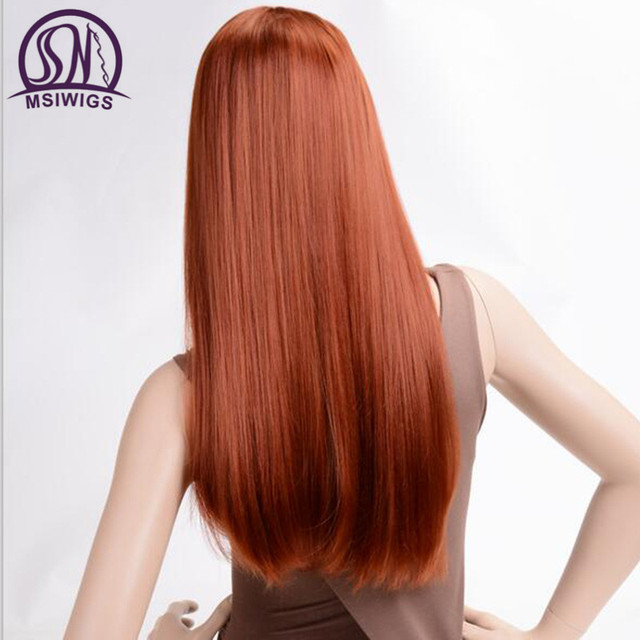 MSIWIGS Long Straight Wigs Synthetic Orange Color Women's Wig 24 Inches Central Part Hair Silver Grey White Red Colour 2