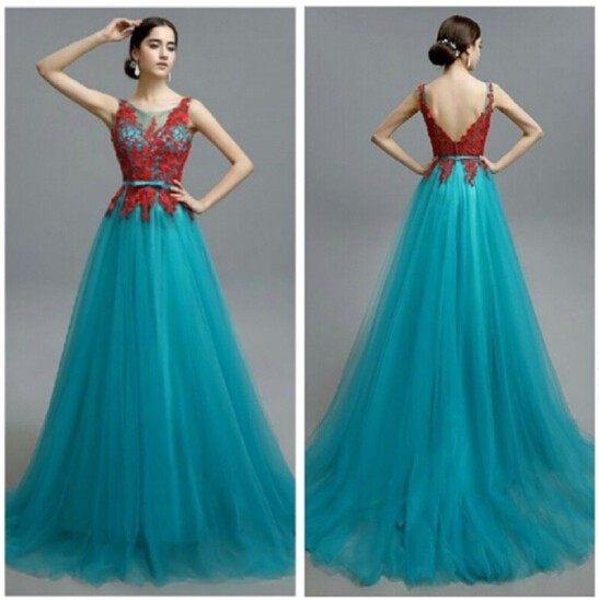 Fashion Blue Prom Dresses red lace evening formal gown Dubai ...