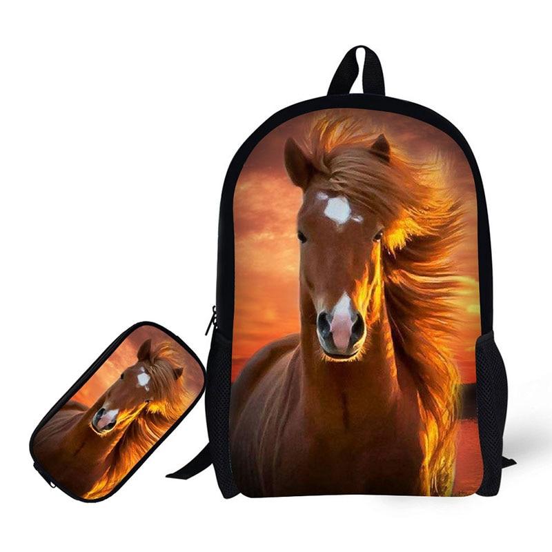 973ca4517d 3D il cavallo di Stampa Bambini Zaino + cassa di Matita per High School Zaini  per studenti Della scuola Primaria Adolescenti Mochila in 3D il cavallo di  ...