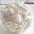 Elegante Personalizado de Noiva Buquê De Casamento Com Broche de Pérolas Com Cercadura E Rosas De Seda, Casamento Romântico Colorido Buquê da Noiva