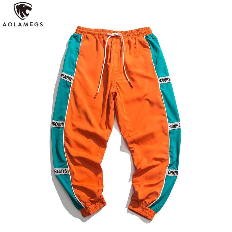Aolamegs Pants Men Block Hit Color Pocket Pants Male Fashion Track Trousers Elastic Waist High Steet Loose Sweatpants Streetwear