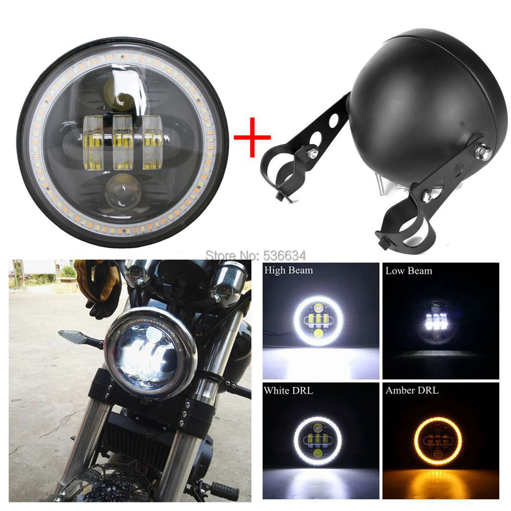 5.75 inch led Headlamp Hi/Low With DRL White/Amber Daymaker matching Led Headlight Housing For Harley Davidson Softail Deluxe