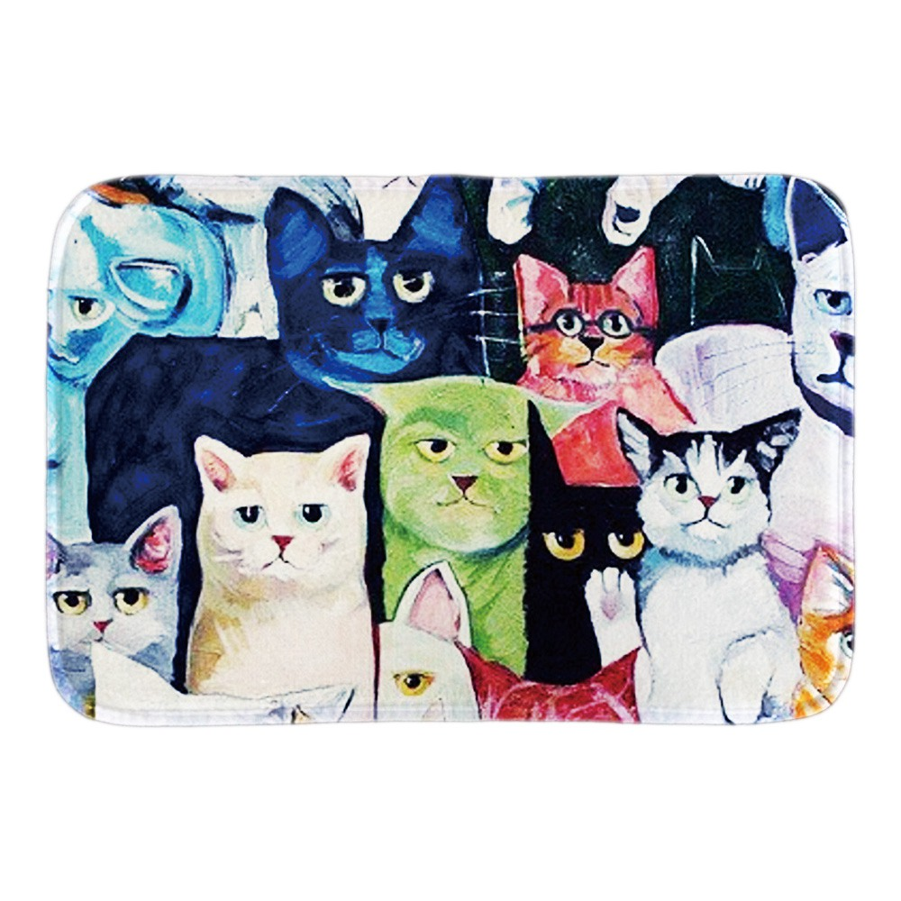 Animals Doormats Decor With Cat Art Illustration Home Decor Rubber Front Door Mats Short Plush Fabric