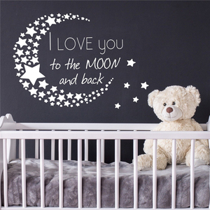 I Love You To The Moon And Back Wall Decal Quote Stars Vinyl Nursery Decor Cute Cartoon Nursery Kids Room Wall Decals D969(China)