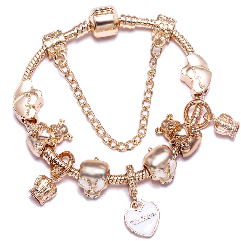 New Rose Gold Winnie Boy Pooh Bunny Rabbit Love Beads Bracelets For Women DIY Original Franc Crown Charm Bracelet Bangle Gift(China)