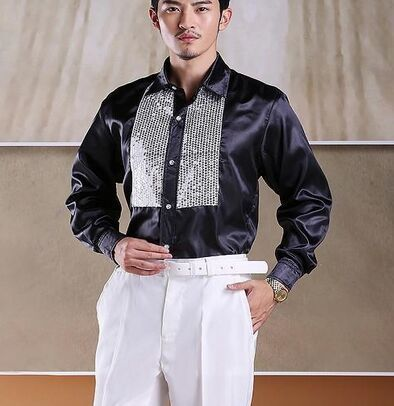 Free shipping  stage silver sequins decoration black mens tuxedo shirts party/event shirts latin dance performance shirts