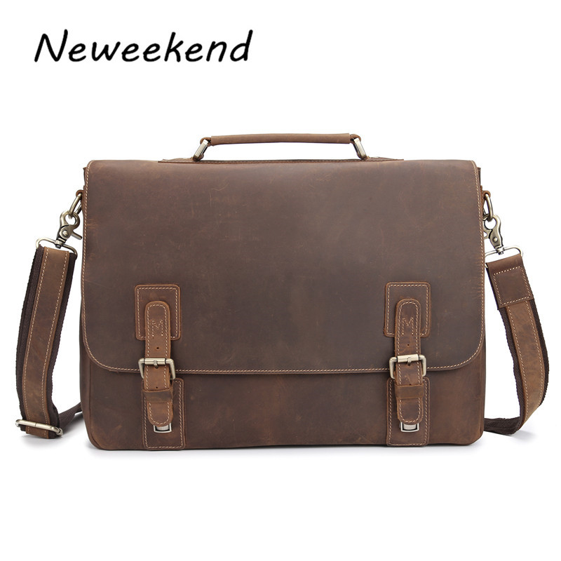 NEWEEKEND 8069 Vintage Crazy Horse Real Leather Men's Briefcase Laptop Case Business Genuine Leather Handbag Tote Shoulder Bag