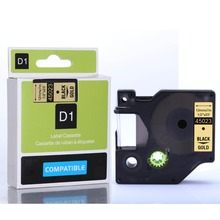 Best selling 12mm Black on Gold 45023 DYMO D1 label tape cassette for Labelmanager printers