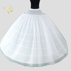 Big Wide 8 Hoops 3 Layers Tulle Long Wedding Woman Petticoats For Quinceanera Dress Elastic Waist Crinoline for Bridal Ball Gown