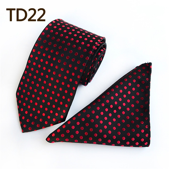 2019 Fashion Scst Brand Design New Red Dot Print Black Mens Ties For Men Silk Tie Slim Wedding Neckties With Match Handkerchief 2pcs Set A085