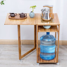 лучшая цена Kung Fu Tea Tray Bamboo Tea Cart Removable Tea Cabinet Multi-function With Induction Cooker Home Wood Small Table