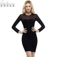Robe Cocktail Sexy Transparent Long Sleeve Black Cocktail Dresses Summer Charming Mini Club Party Dress Special Occasion Dresses