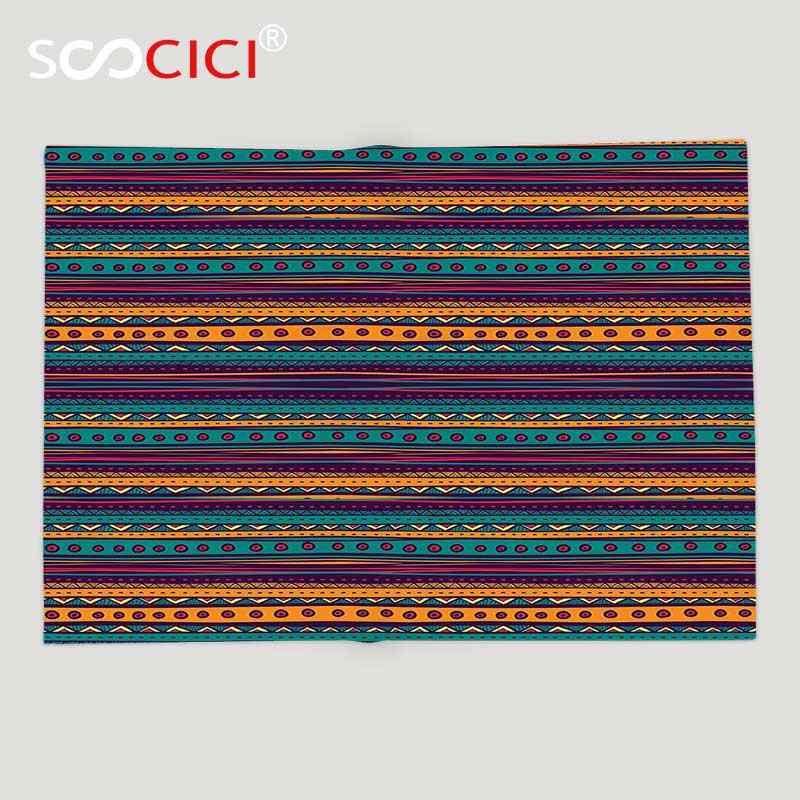 Benutzerdefinierte Weichen Fleece Decke Tribal Gestreiften Retro Aztec Muster mit Reiche Mexikanischen Ethnischen Farbe Folkloristische Druck Teal Pflaume