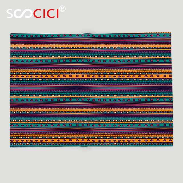 Us 46 91 49 Off Custom Soft Fleece Throw Blanket Tribal Striped Retro Aztec Pattern With Rich Mexican Ethnic Color Folkloric Print Teal Plum In